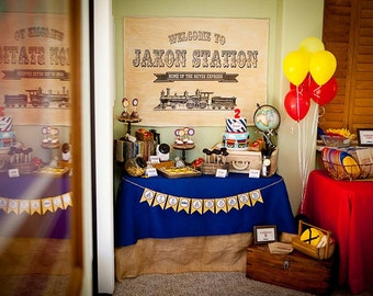 Vintage Train Backdrop printable, Train birthday, Train Signs, Train theme birthday party