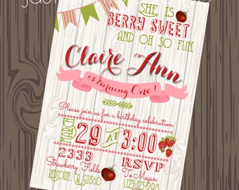 Strawberry invitations, Strawberry Printables, Strawberry Patch theme, Strawberry Birthday invite
