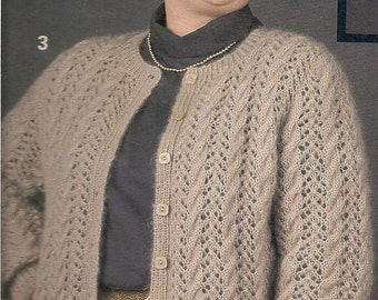 Vintage Plus Size Cardigan Sweater with Lace  Knitting Pattern PDF  pattern