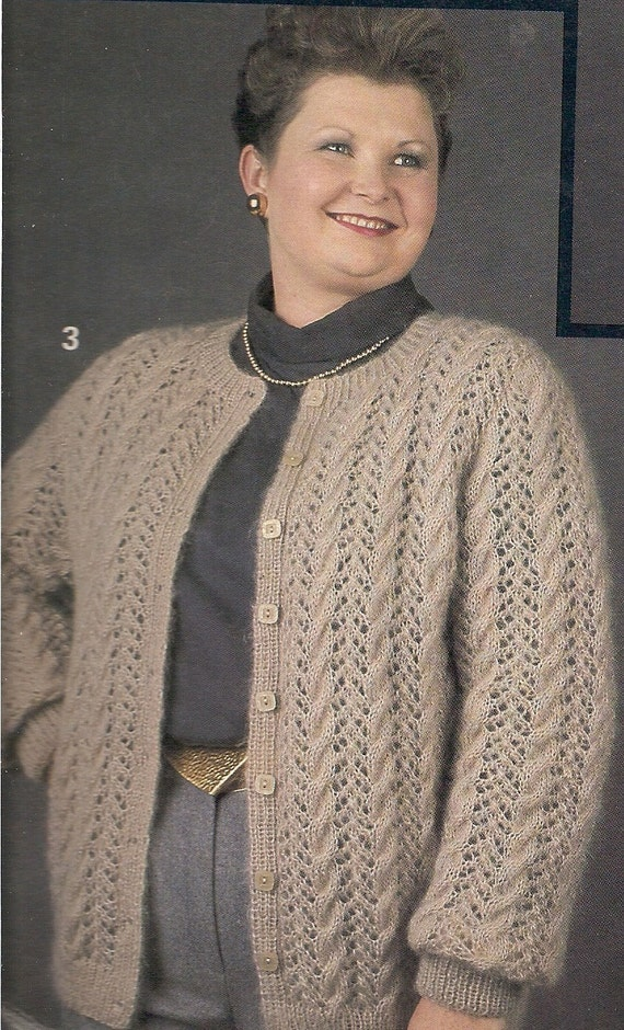 Knitting Patterns Plus Size : Vintage plus size cardigan sweater with lace knitting