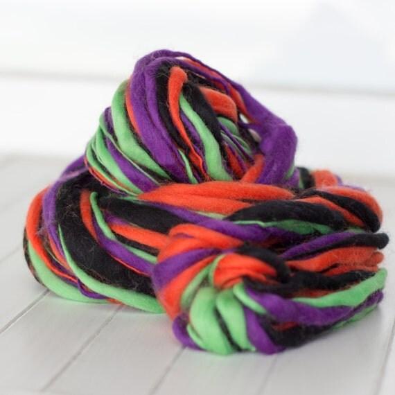 Half Off Sale - Halloween Yarn - 4 Ounce Skein of Thick and Thin Handspun Slub Yarn