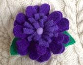 Triple Purple Wool Daisy Flower Pin