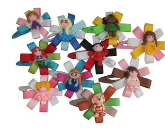 6Pc Boutique Hair Clip Bows Lady Girls Baby Polymer Clay Center Pre-Sale  Grosgrain Ribbon  Frozen Elsa Anna
