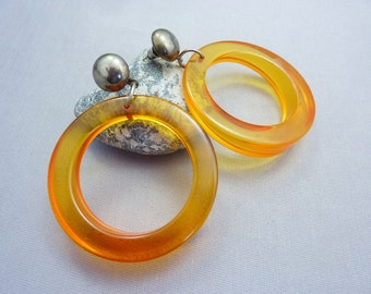Bakelite Earrings Vintage Amber Bakelite Thick Big Hoop Post Earrings Nice