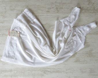 Vintage White Negligee Lace Night Slip Unused White Nightgown Lace Negligee Soviet Vintage Negligee Unused 1980s Nylon Slips Vintage Slips