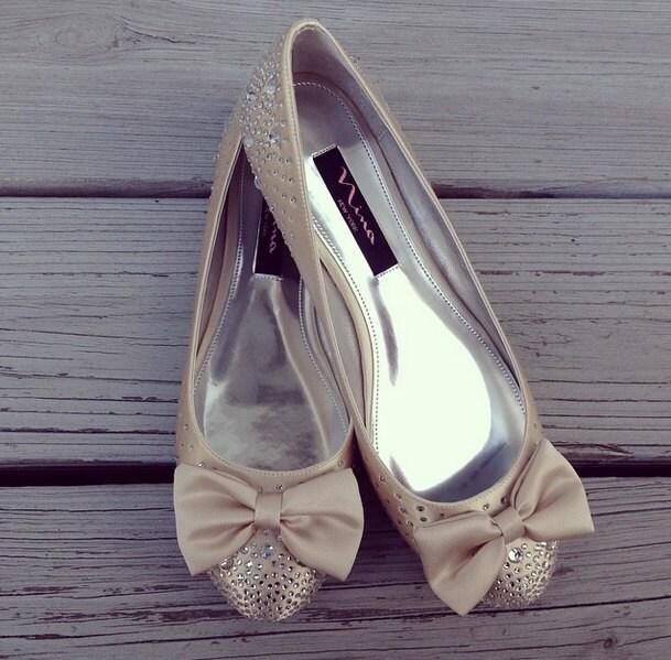 Champagne Jolie Bridal Ballet Flats Wedding Shoes