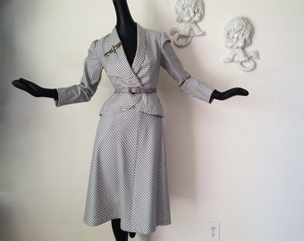 Vintage 80s does 40s Rockabilly Suit Pin Up Bombshell Two Piece Dress Jacket Skirt Gray Gingham Plaid by Morton Myles New York Size Small