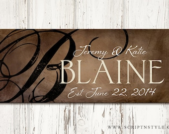 Personalized Wood Family Established Name Sign, Family Established Wood Plaque, Last Name Sign, Wood Wedding Anniversary Gift