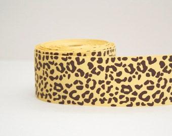 Cheetah Print Extra Wide 1.5in Brown Grosgrain Ribbon - 1yd