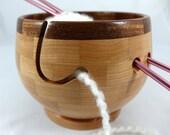 Wooden Cherry Knitting Bowl, Lathe Turned, Segmented, Mahogany Rim, As Seen In Knit Wear Magazine