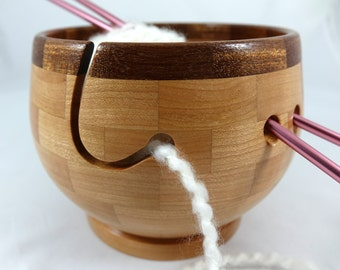Wooden Cherry Knitting Bowl, Lathe Turned, Segmented, Mahogany Rim, As Seen In Knit Wear and Interweave Magazines
