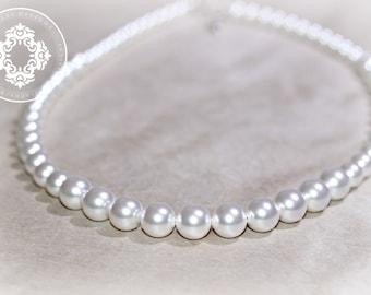 Bridal Swarovski pearl necklace, Classic Single Strand pearl necklace, wedding necklace, bridal party necklace, Jewles Designs