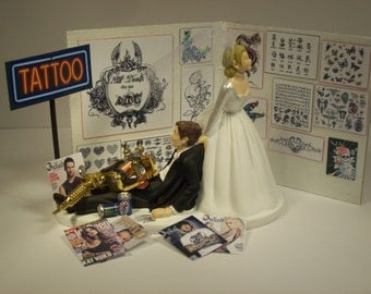No more TATTOOS Funny Wedding Cake Topper Bride and Groom Inked Groom's Cake with Tattoo Gun