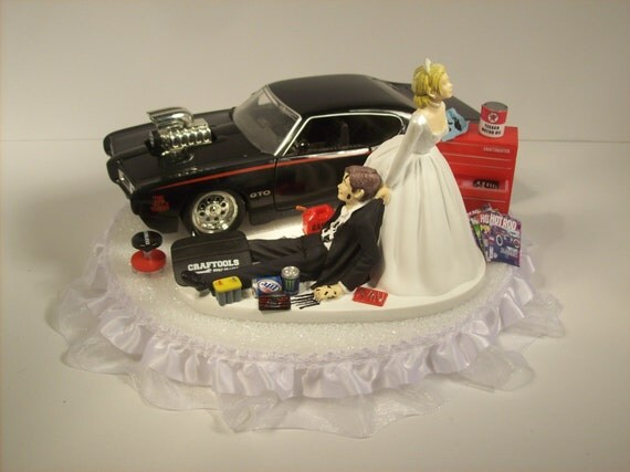 mechanic wedding cake toppers auto mechanic and groom 1969 pontiac gto judge black car 17250