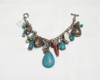 Charm Bracelet - Turquoise and Hearts - Vintage