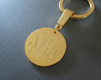 Personalized Gold Laser Engraved Monogram Keychain - 4 different pendant sizes