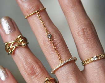 CZ Gold Double Finger Ring - Gold Chain Ring, Gold Two Finger Ring, Gold Rings, Gold Multi Finger Ring