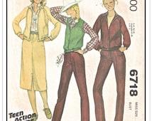 "McCALL'S Pattern 6718 - Misses' ""Kristy McNichol"" Separates - Raglan Jacket, Jeans Pants, Skirt and Vest - Sz 12 B34 - Vintage 1970s"