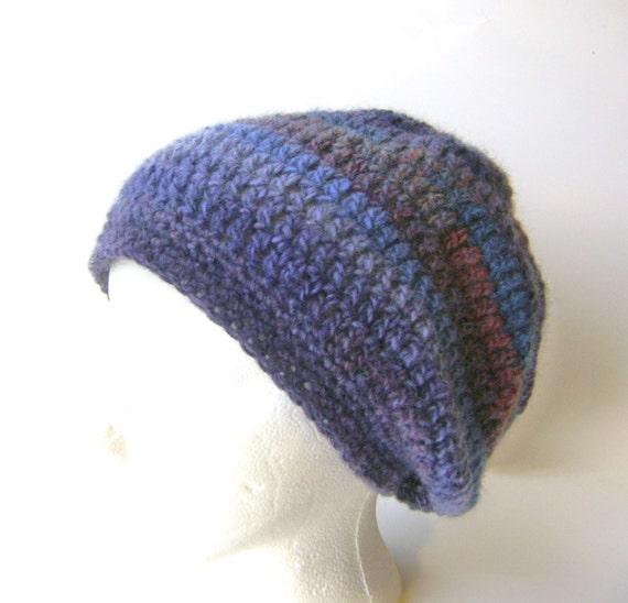 Free Crochet Pattern Multi Colored Hat : Crochet Hat Multi Colored Blue Slouchy Wool Beanie Hand