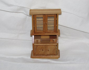 VINTAGE Doll House MINIATURE Beautiful Wood Cupboard Larger Scale 1950's