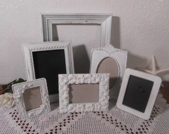 Ornate White Shabby Chic Frame Set Rustic Distressed Picture Photo Paris French Country Farmhouse Cottage Home Decor Birthday Gift for Her