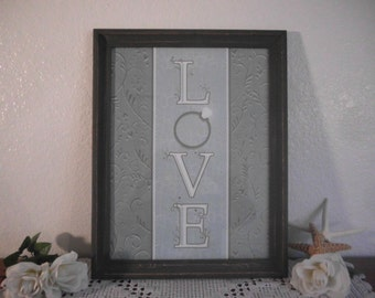 Love Wall Hanging Rustic French Country Farmhouse Beach Cottage Romantic Southern Home Decor Blue Grey Wedding Reception Decoration Gift Her