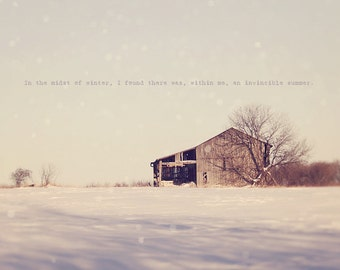 Winter Solstice, Abandoned House, Farmhouse Decor, Inspirational Photo, Typography Photo, Winter Photo, Winter Print, Barn House Art