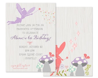 WOODLAND FAIRY Invitations, Digital or Professionally Printed Invitation, Libby Lane Press, As Seen on Hostess with the Mostess