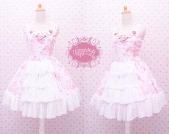 READY STOCK Cute Pink Sweet Dress With Flower Decoration - Pink Flower Dress - Girl Birthday Dress - Sweet Lolita Dress - Tea Party Dress