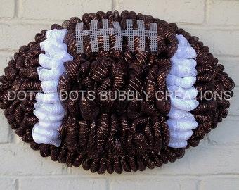 Brown MetallicFootball Shaped Mesh Wreath
