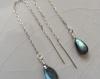 Free Shipping - Small Faceted Smooth Labradorite Pear/Briolette Drop Sterling Silver Threader/Ear Thread  Earrings