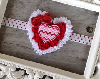 Valentines Day Heart Headband Baby Girl Headbands Newborn Headbands Photography Prop Toddler Headbands Heart Headband Girls Headbands