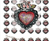 1 inch by 1 inch Hearts, Inchie Clip Art Hearts, Miniature Mexican Heart, Corazones, Tin Heart, Mexican Art, Spiritual, Collage, Altered Art