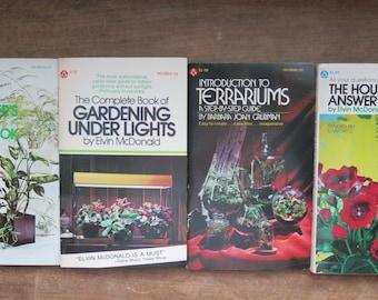Vintage BOXED (4) set of Houseplant Books, Indoor Gardening, Terrariums, Indoor Lights