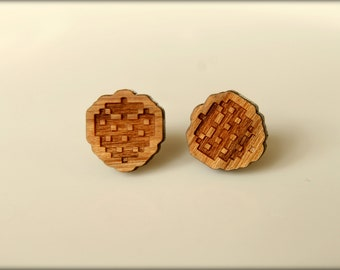 8-bit Strawberry Studs, Laser Cut Wood Earrings