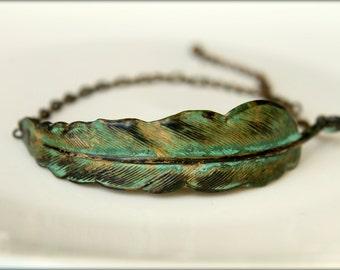 Verdigris Feather Adjustable Bracelet