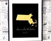 Massachusetts State - Massachusetts Map - State Artwork - Black And Gold Art - Dorm Room Art - College Dorm Room Decor - New Home Art