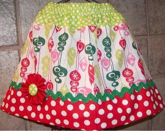 Christmas Bulbs..Girls Skirt, Twirl skirt. Available in 0-12 months, 1/2, 3/4, 5/6, 7/8, 9/10 Bigger Sizes Available