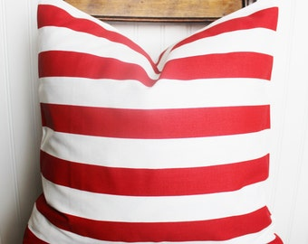 Red White Stripe Christmas Pillow Cover, Red Stripe Pillow, Red Pillow, Red White Stripe Pillow, Red and White Cushion, Red Stripe Pillows