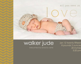 INSTANT DOWNLOAD - Custom Photo Birth Announcement Template - PSD - Template - Birth Announcement - Herringbone