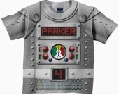 Personalized Robot Shirt, Boys Retro Robot Birthday Shirt, Robot Costume T-Shirt, Boy's Top