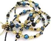 GOLDEN MIDNIGHT- Beaded ID Lanyard Badge holder- Sparkling Crystals, Pearls, and Gold Plated Beads and Spacers (Magnetic Clasp)