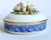 Lovely Vintage Trinket Box Oval Shape with Flowers The Regal Bone China Collection Traditional English Excellent Condition Great Gift Box