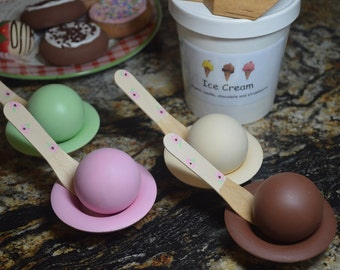 Babies First Color Matching Play Food Ice Cream Set Wooden Toy