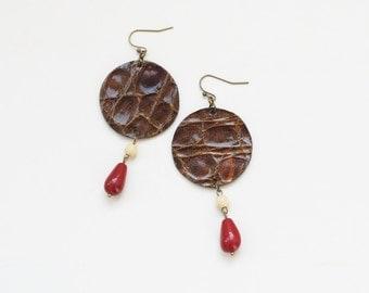 Boho earrings, leather earrings, geometric earrings, retro earrings, brown earrings, long dangle earrings, brown red cream, circle earrings