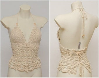 Festival crochet top. Beige halter top, new hippie retro halter top, summer beige tank, summer wear, festival crochet tank.