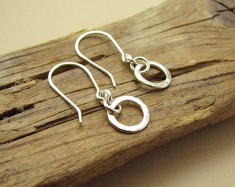 Small Circle Sterling Silver Link Earrings