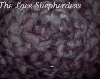 "Hand dyed Coopworth Wool Pin Draft Roving. 7.8 oz. ""Amethyst Haze"""