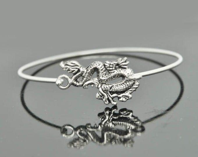 Dragon Bangle, Sterling Silver Bangle, Dragon Bracelet, Stackable Bangle, Charm, Bridesmaid Bangle, Bridesmaid jewelry, Bridal Bracelet