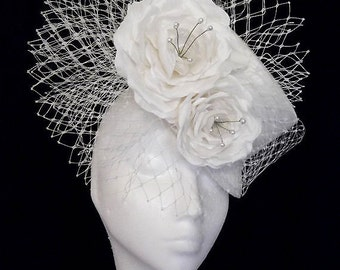 Silk Ivory Bridal Top Hat with Nest Veil and Silk Roses